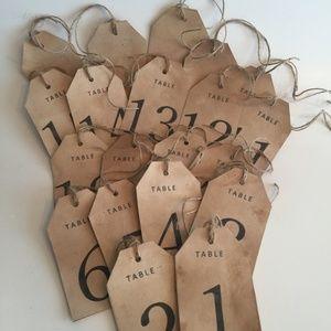 Set of 20 RUSTIC TABLE NUMBERS, WEDDINGS